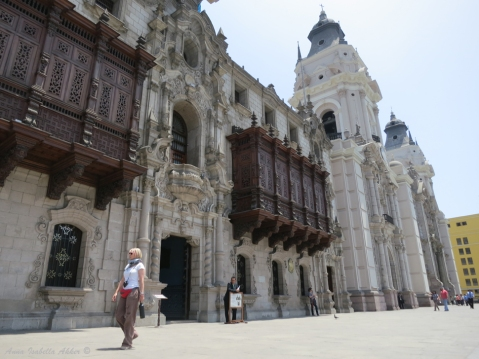 The main cathedral in Lima (Catedral Basílica de Lima), right next to the president's palace in the Plaza Mayor. Intricately carved, wooden balconies were common in both Cuzco and Lima, though I imagine they're not the best thing to have during Peru's frequent earthquakes.